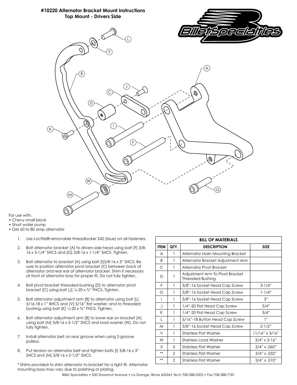 Billet Specialties 10220 Alternator Bracket User Manual
