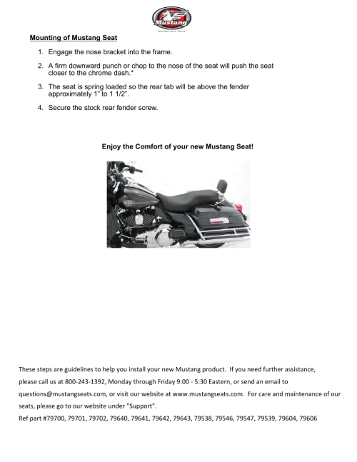 small resolution of mustang motorcycle seats one piece studded lowdown touring seat harley davidson road king flht fltr flhx user manual page 2 2