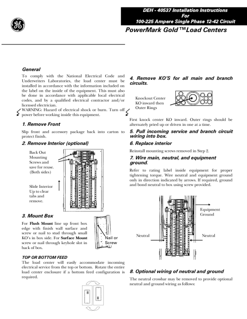 small resolution of ge industrial solutions power mark gold load centers user manual 4 pages