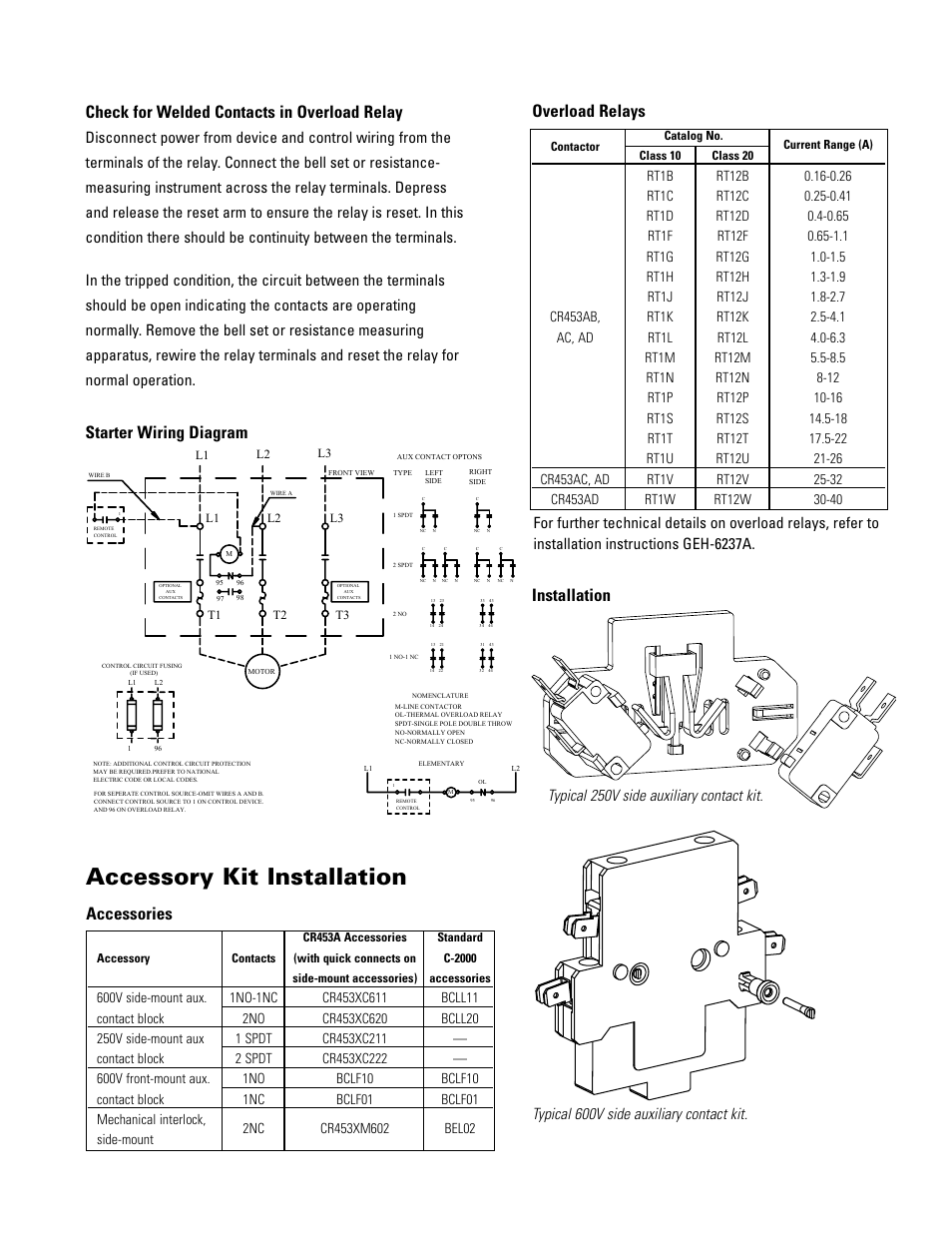 medium resolution of accessory kit installation overload relays starter wiring diagram installation ge industrial solutions cr454a