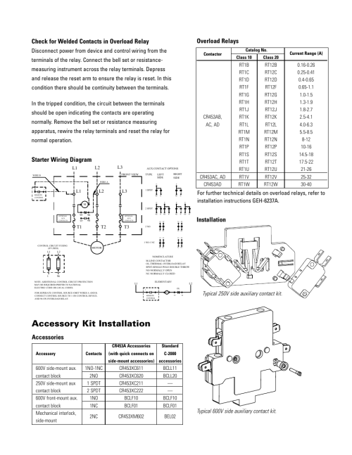small resolution of accessory kit installation overload relays starter wiring diagram installation ge industrial solutions cr454a