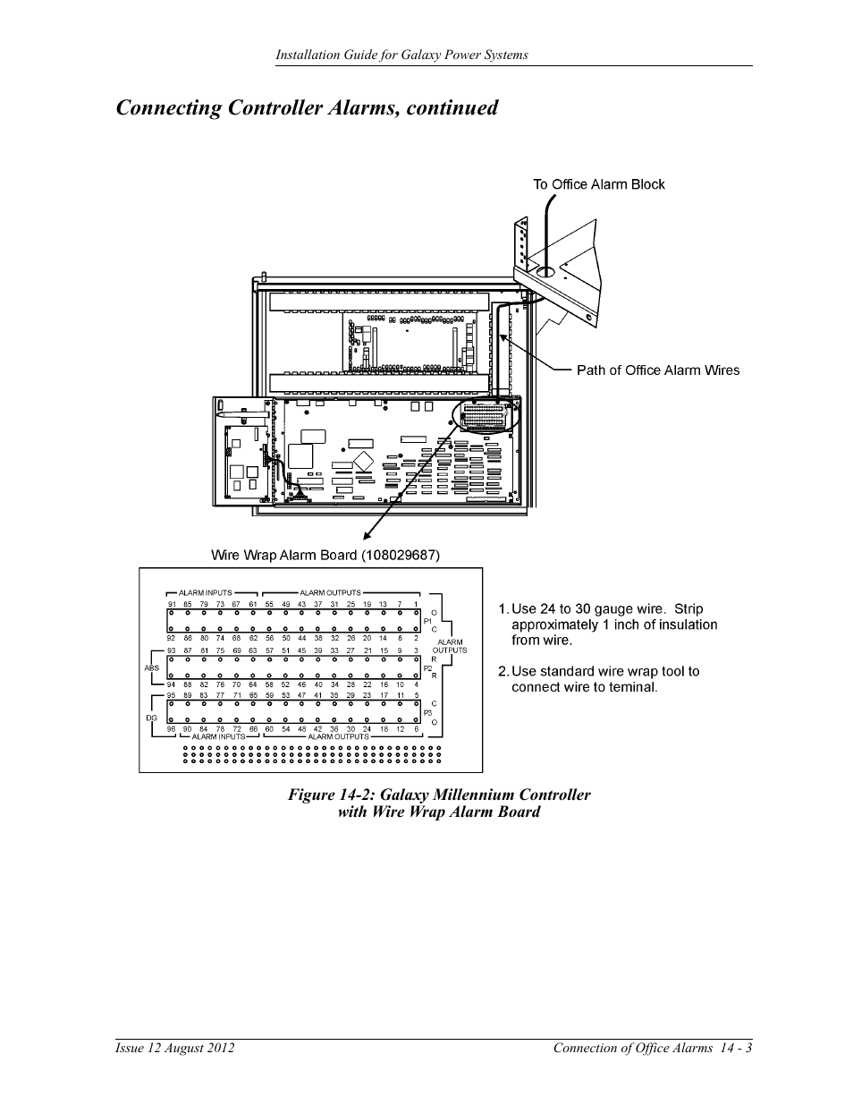 medium resolution of figure 14 2 galaxy millennium controller with wire wrap alarm board connecting controller alarms continued ge industrial solutions galaxy power