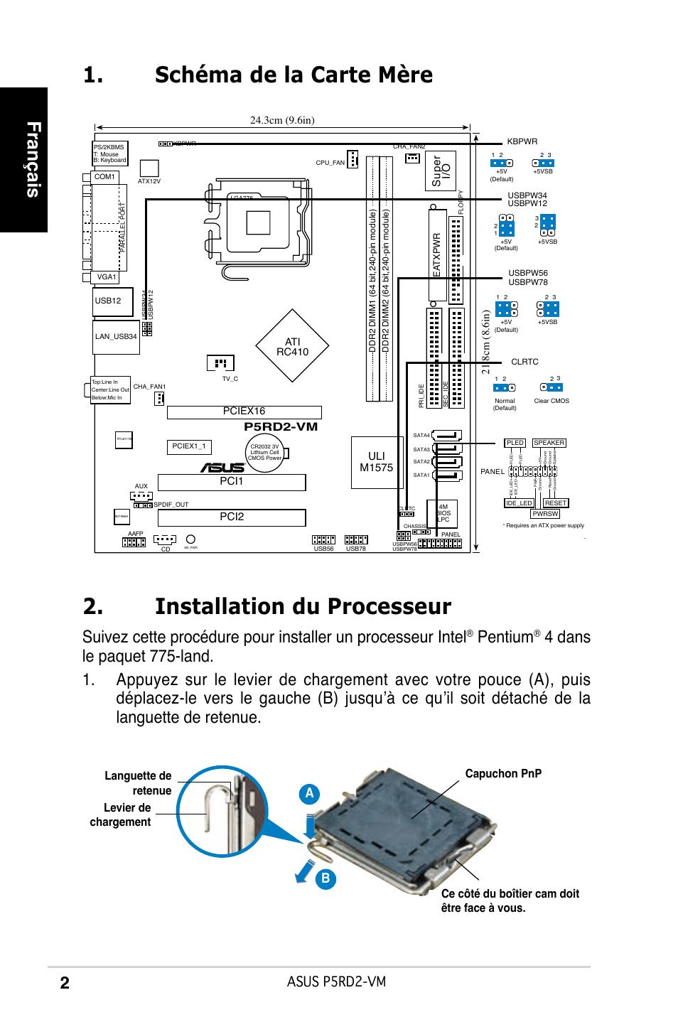Installation du processeur, Schéma de la carte mère