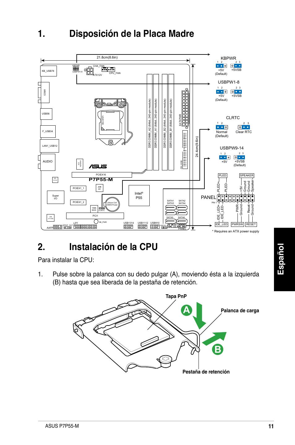 Español, Asus p7p55-m, Palanca de carga pestaña de