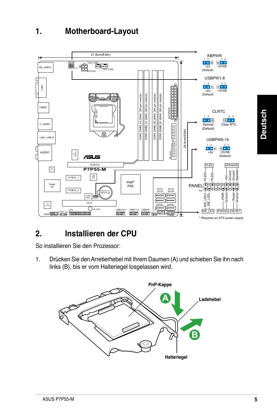 Motherboard-layout u00 . installieren der cpu, Deutsch