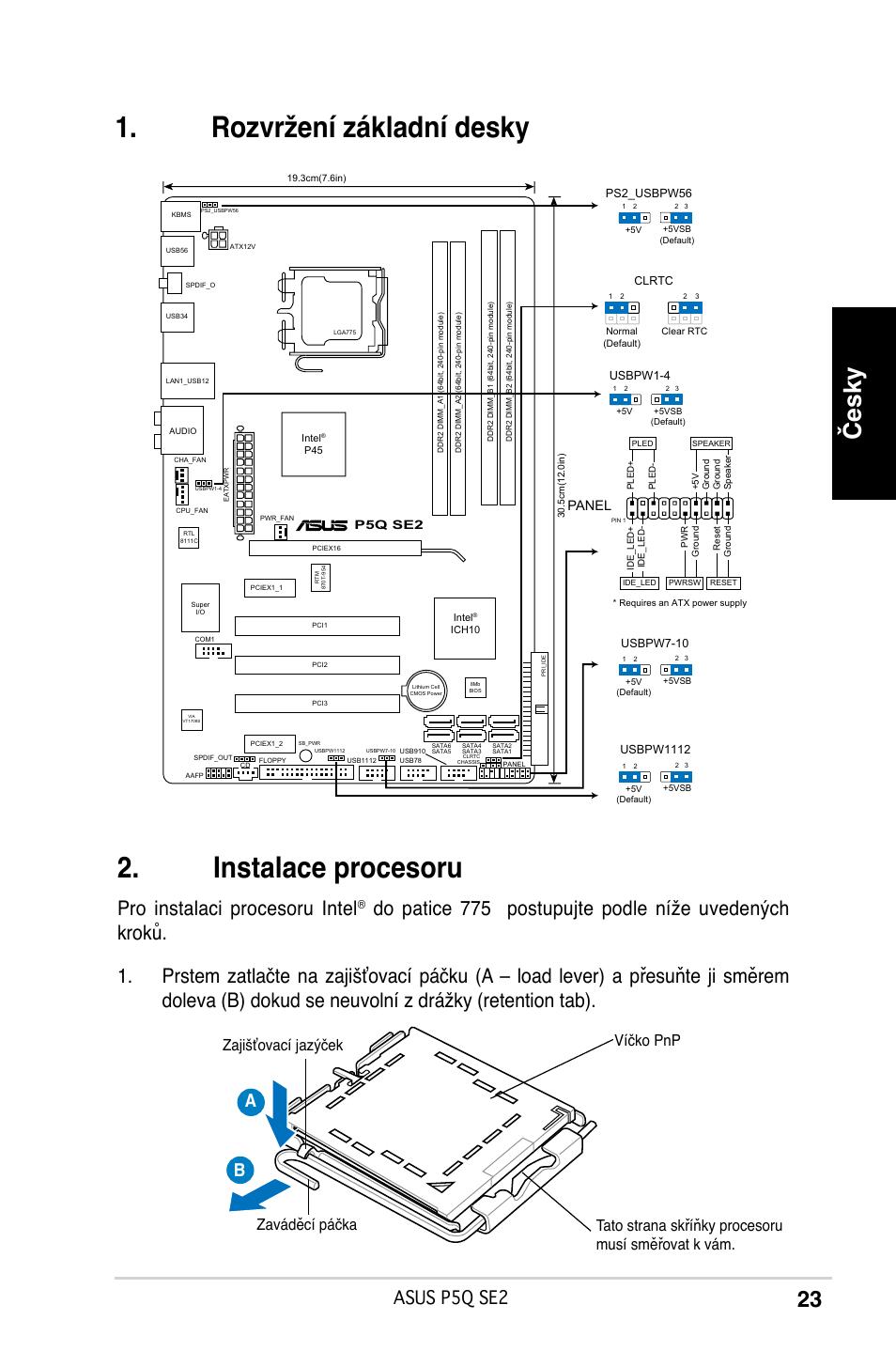 Rozvržení základní desky u00 . instalace procesoru, Česky