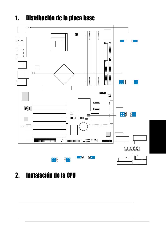 Instalación de la cpu, Distribución de la placa base, Espa