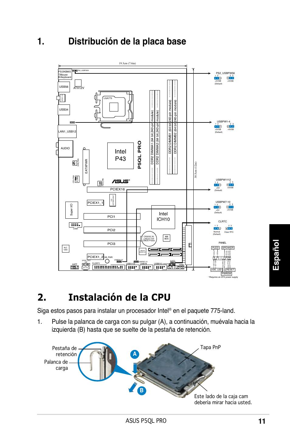 Distribución de la placa base, Instalación de la cpu