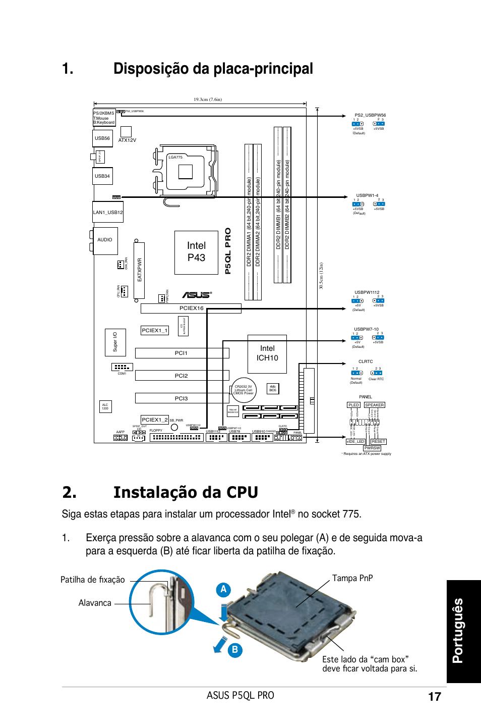 Disposição da placa-principal, Instalação da cpu