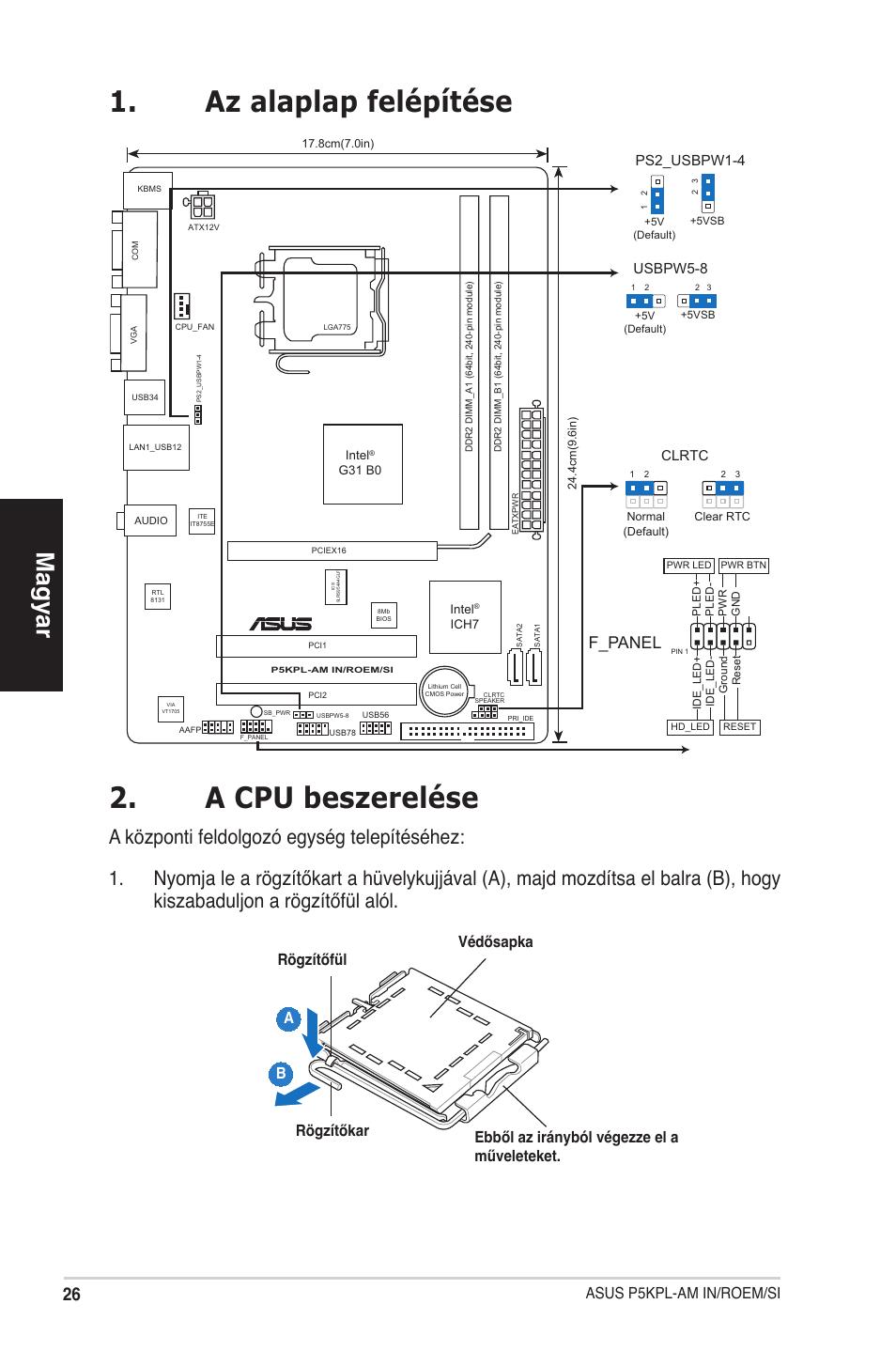 Az alaplap felépítése 2. a cpu beszerelése, Magyar, F