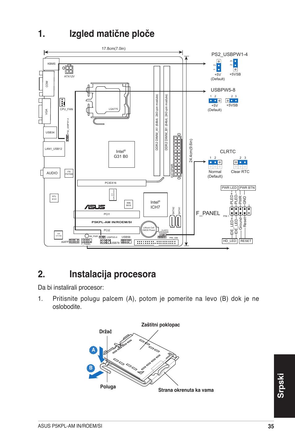 Izgled matične ploče u00 . instalacija procesora, Srpski