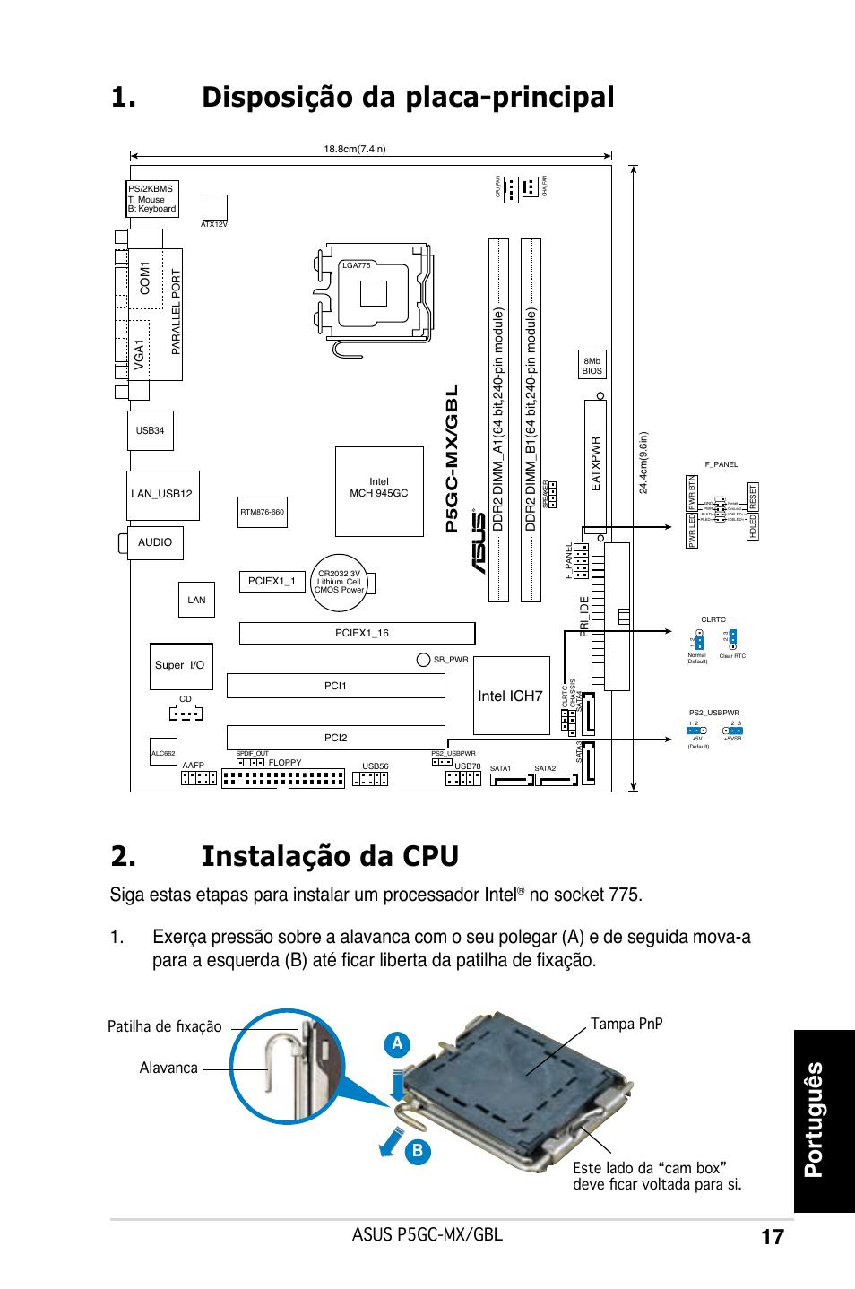 Disposição da placa-principal 2. instalação da cpu