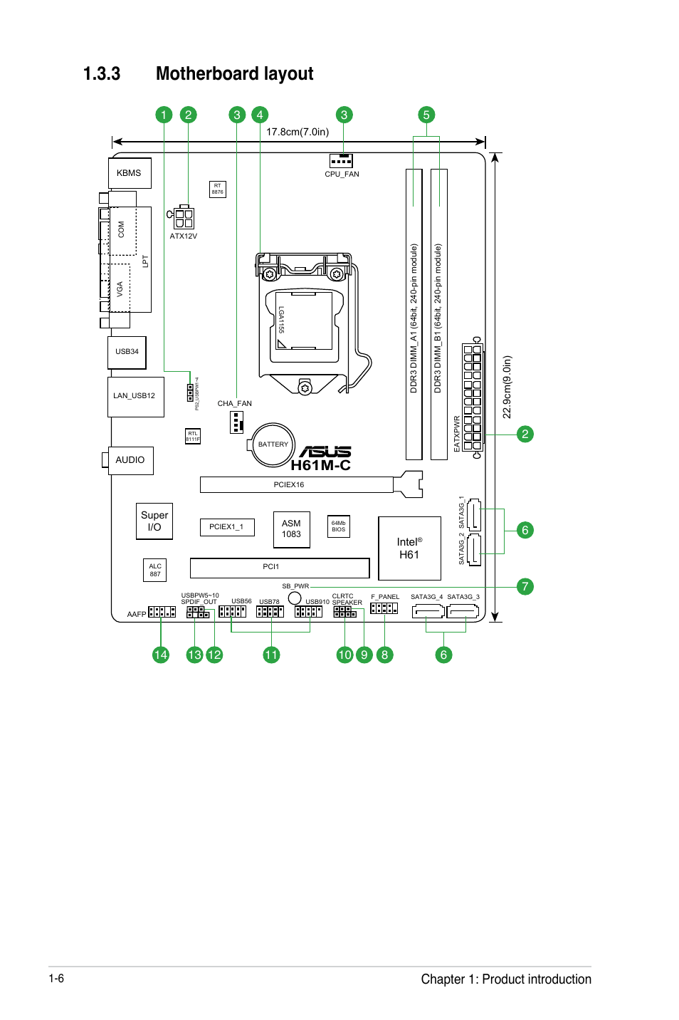 3 motherboard layout, H61m-c, Chapter 1: product