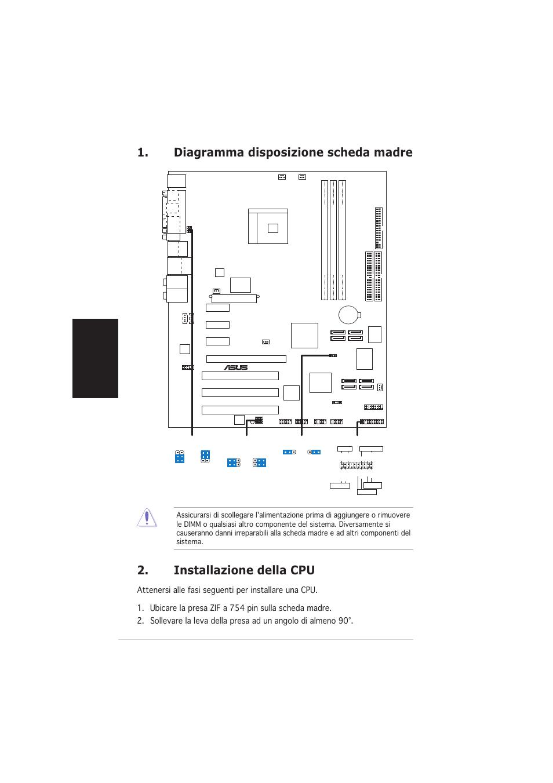 Installazione della cpu, Diagramma disposizione scheda