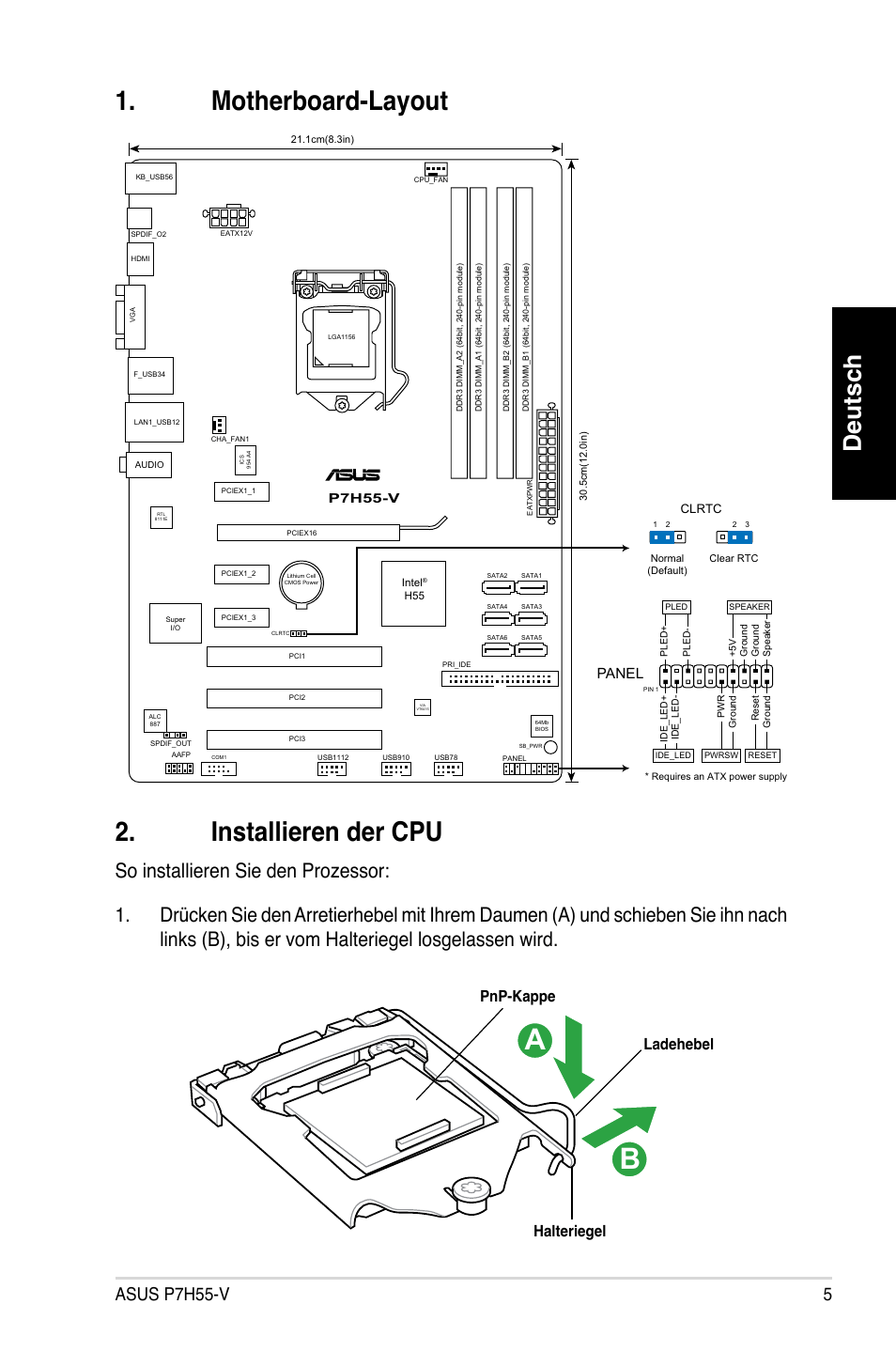 Motherboard-layout 2. installieren der cpu, Deutsch, Asus