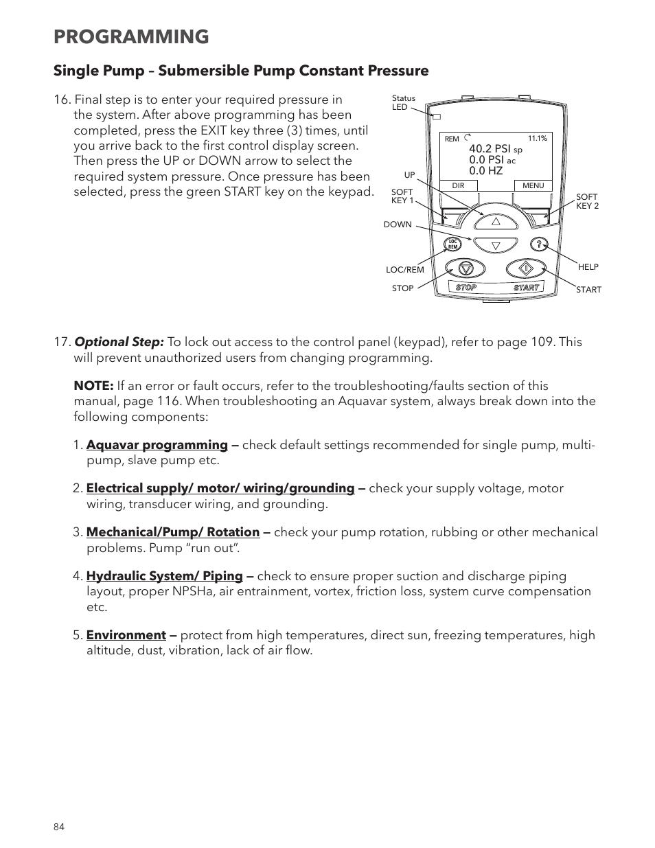 medium resolution of programming single pump submersible pump constant pressure xylem im167 r8 aquavar cpc centrifugal pump control user manual page 84 152