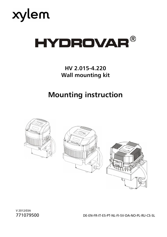 Xylem HYDROVAR Wall Mounting Kit HV 2.015-4.220 User