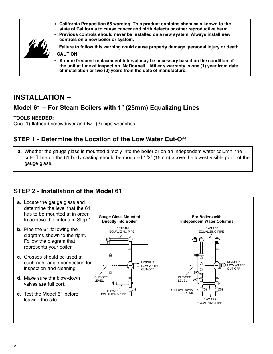hight resolution of installation xylem mm 214e series 61 low water cut off user manual page 2 8