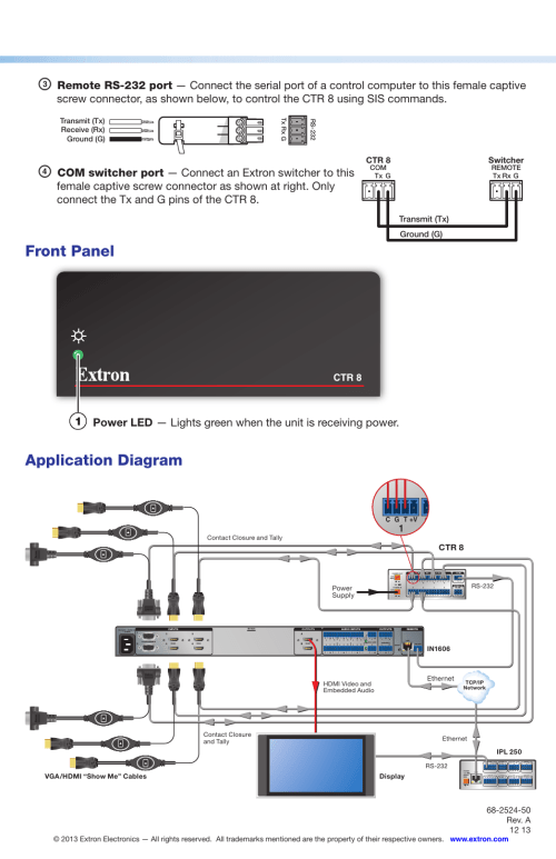 small resolution of front panel application diagram ctr 8 extron electronics ctr 8 setup guide user manual page 2 2