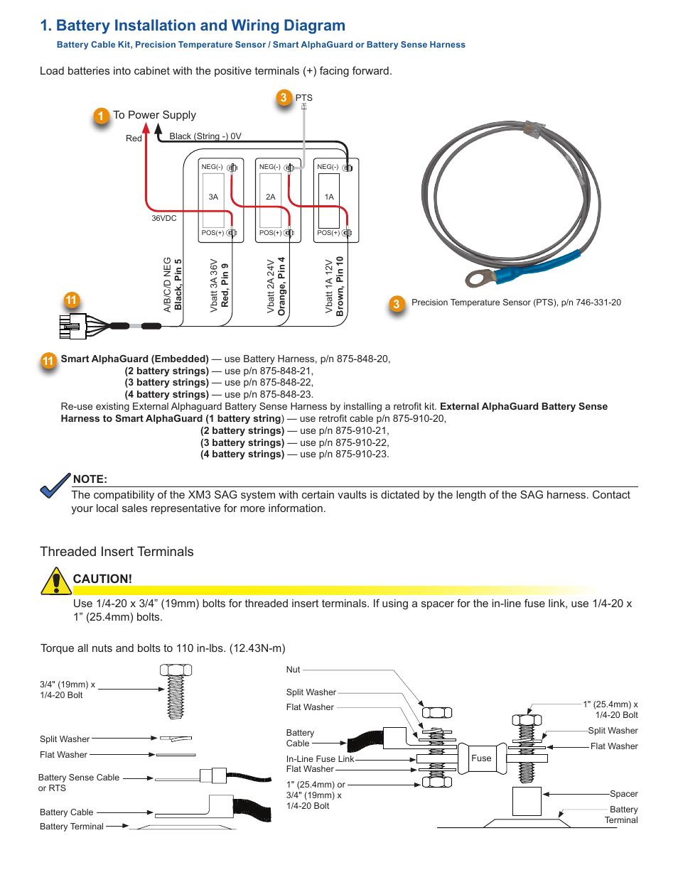 medium resolution of battery installation and wiring diagram threaded insert terminals caution alpha technologies xm3