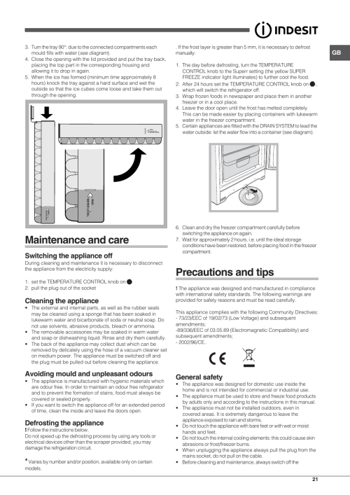 small resolution of maintenance and care precautions and tips switching the appliance off indesit uiaa 10 user manual page 21 60