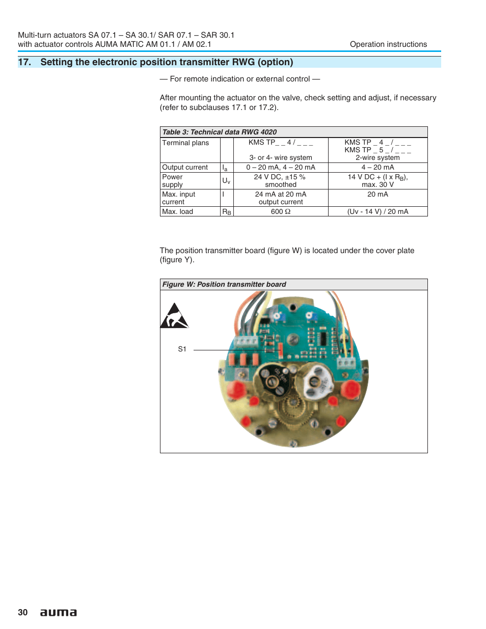 medium resolution of electronic position transmitter rwg 30 auma electric multi turn actuators sa 07 1 16 1 sar 07 1 16 1 matic am 01 1 02 1 user manual page 30 64