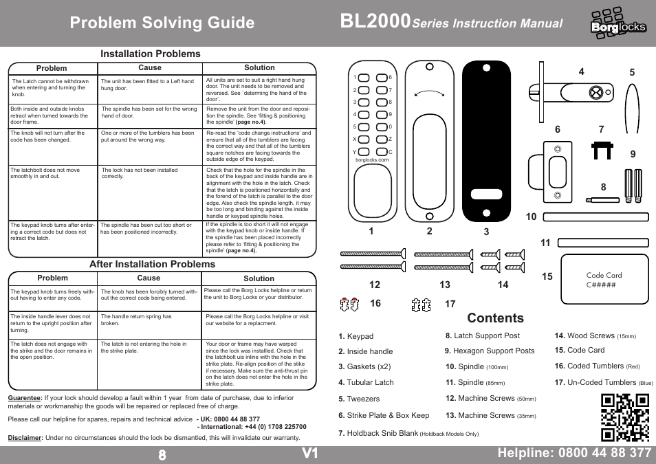 Borg Locks BL 2000 Series Instruction Manual User Manual
