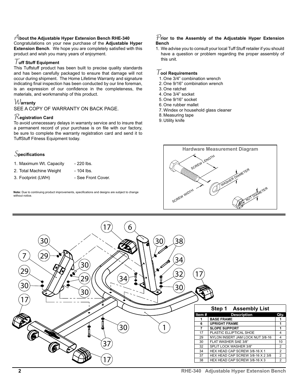hight resolution of tuff stuff rhe 340 adjustable hyper extension bench user manual page 2 8