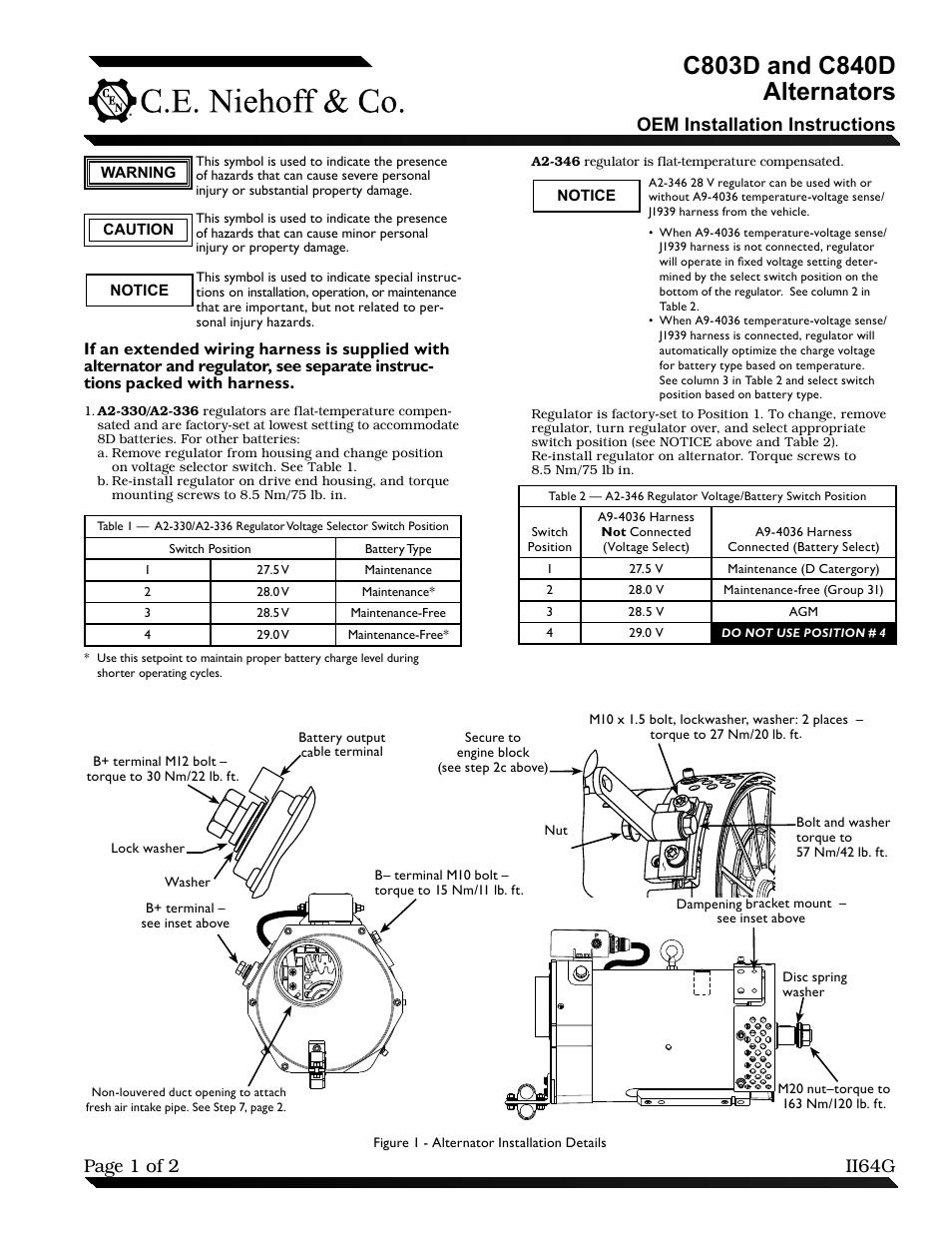 C.E. Niehoff & Co. C803D/C840D Alternator OEM Installation