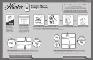 Hunter 99121 FanLight Universal Handheld User Manual | 2