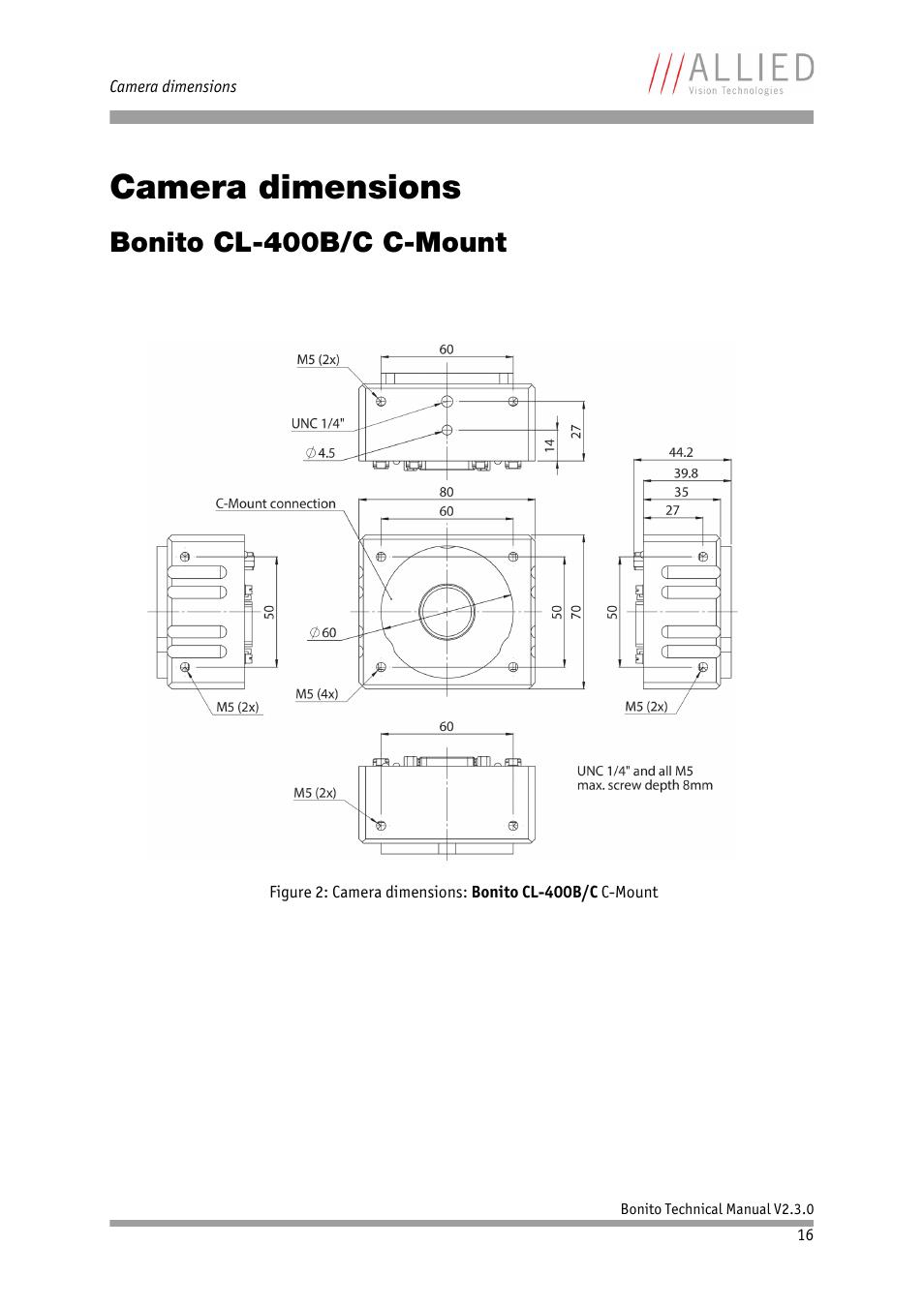 Camera dimensions, Bonito cl-400b/c c-mount, Bonito cl