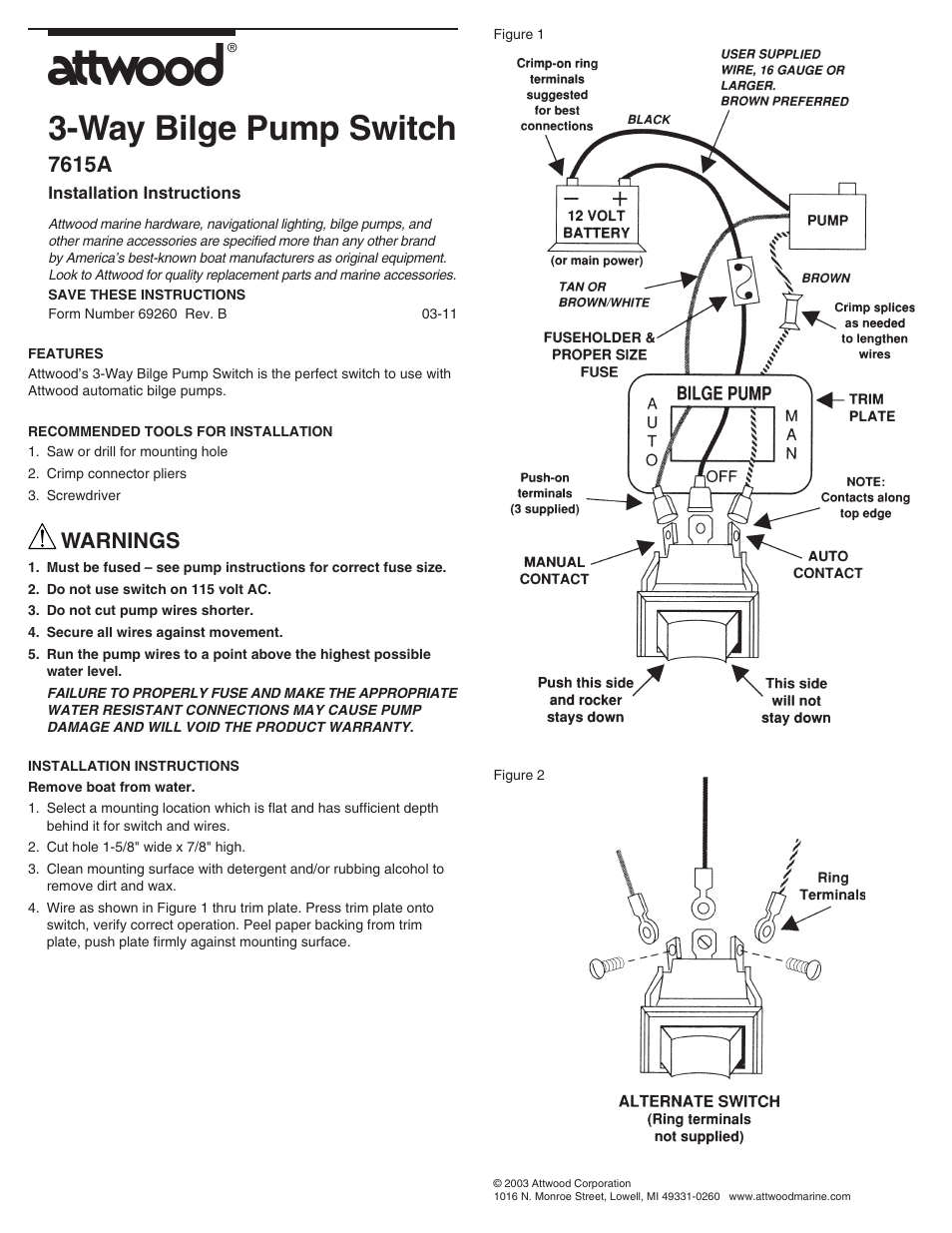 hight resolution of attwood 7615a user manual 1 page also for 7615 69260 bilge pump switches