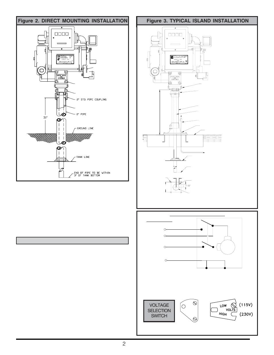 Figure 2. direct mounting installation, Warning