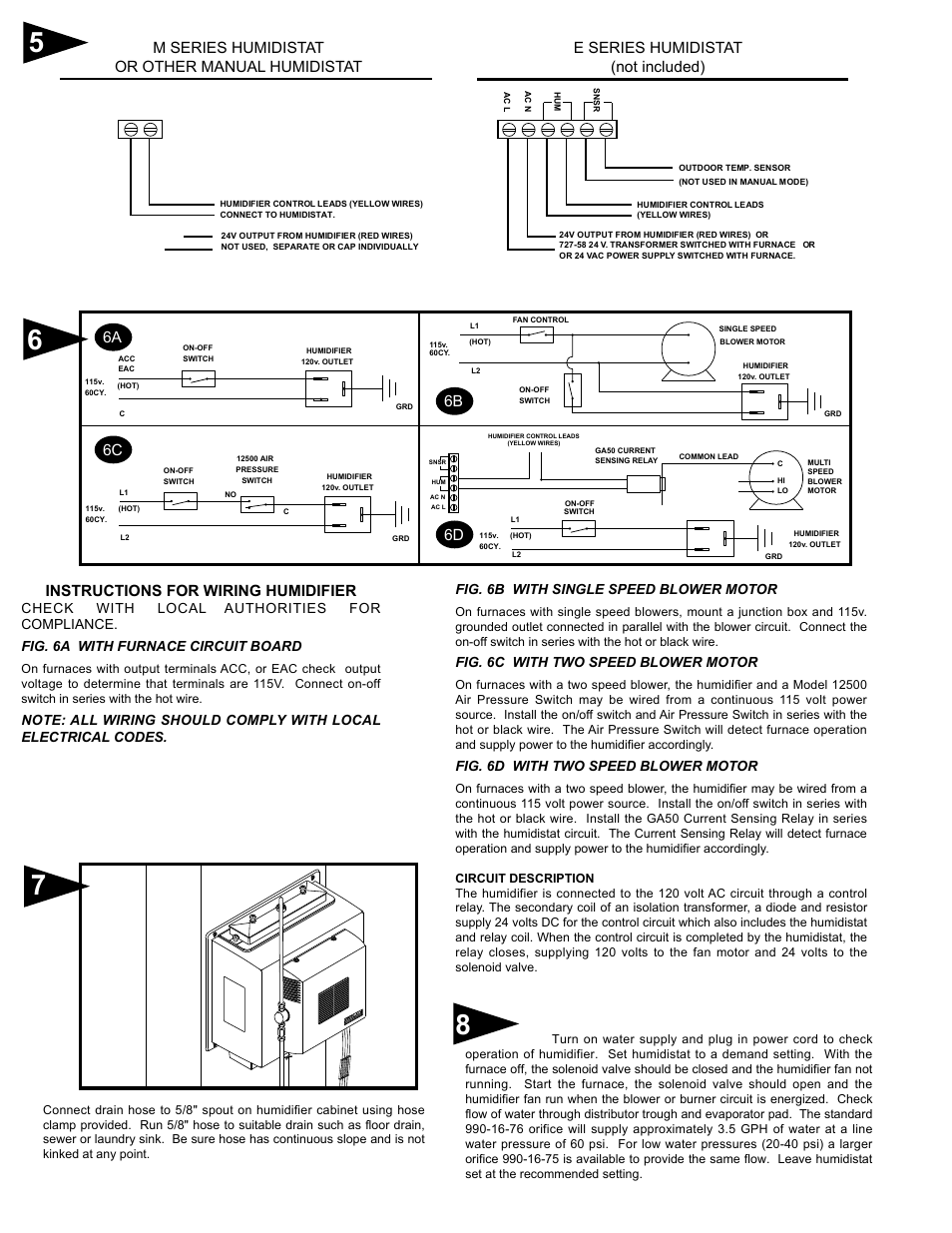 hight resolution of instructions for wiring humidifier e series humidistat not included 6a 6c 6b generalaire 1137 series legacy user manual page 3 4