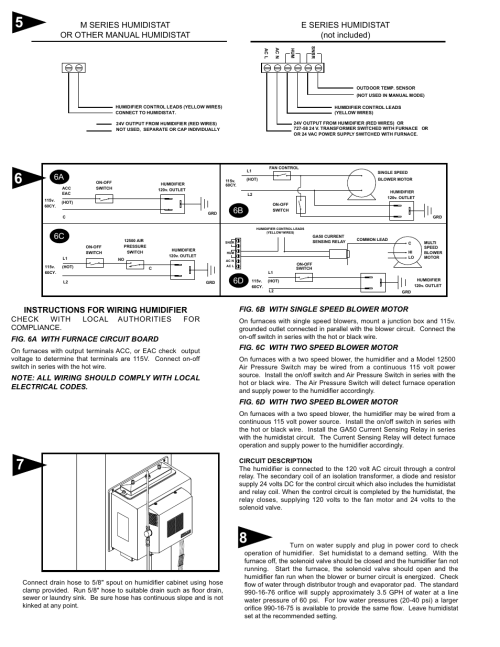 small resolution of instructions for wiring humidifier e series humidistat not included 6a 6c 6b generalaire 1137 series legacy user manual page 3 4