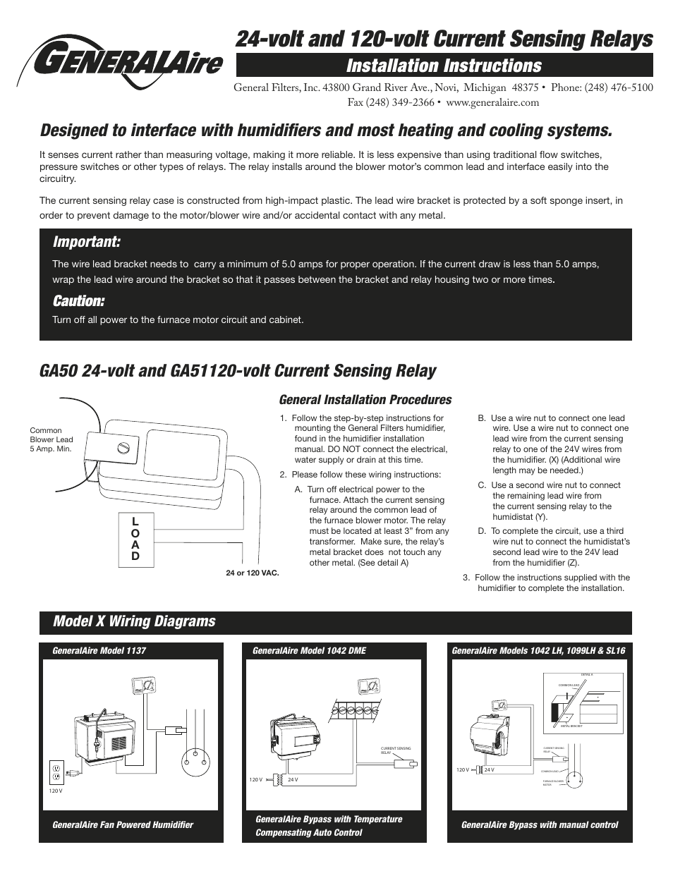 hight resolution of generalaire ga51 current sensing relay user manual 2 pages also for ga50 current sensing relay
