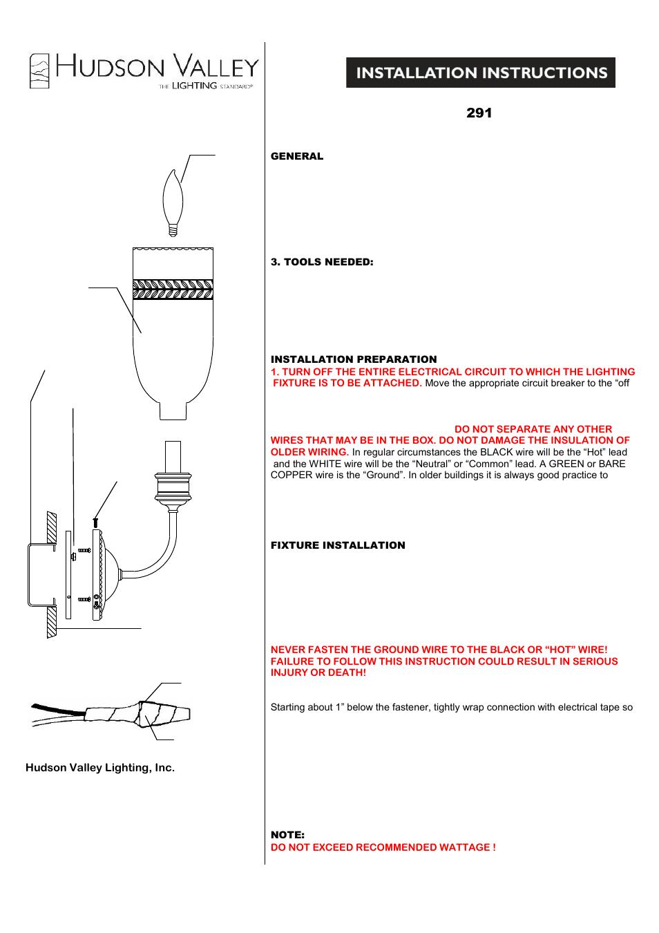 medium resolution of hudson valley lighting lafayette 291 user manual 1 page relay wiring diagram lafayette wiring diagrams