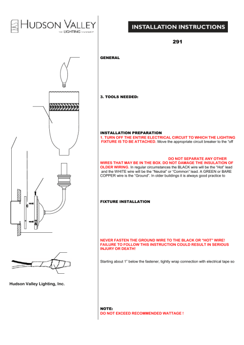 small resolution of hudson valley lighting lafayette 291 user manual 1 page relay wiring diagram lafayette wiring diagrams