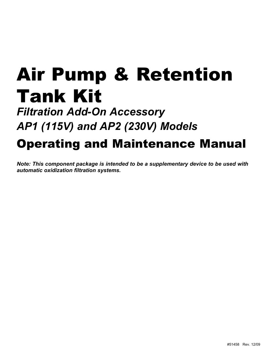 Hydrotech AP1 (115V) Air Pump & Retention Tank Kit User