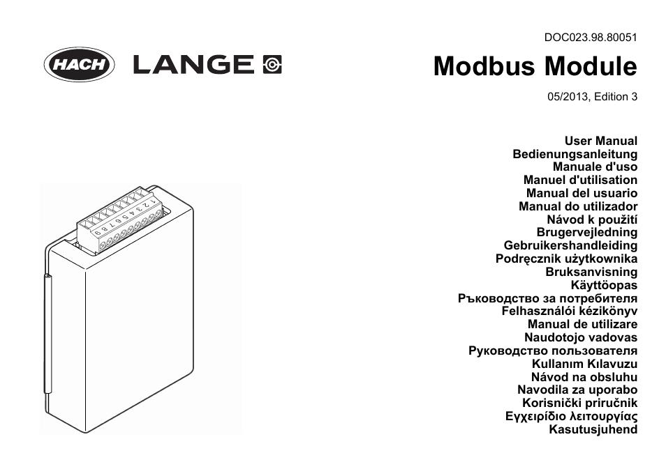 Hach-Lange SC 200 Modbus Module User Manual User Manual
