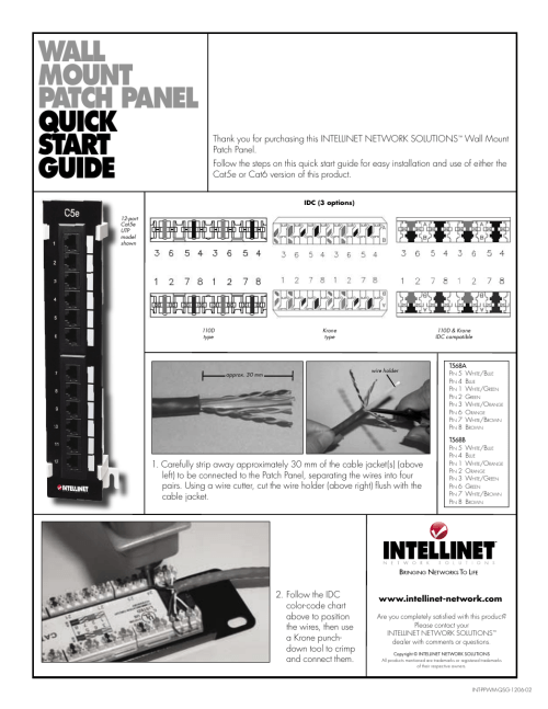 small resolution of intellinet network 162470 cat5e wall mount patch panel user manual 1 page