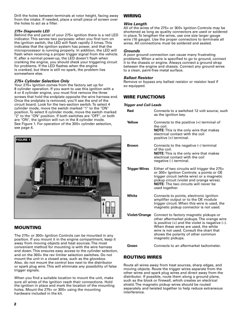 small resolution of mallory ignition accel 275 300 digital ignition 49275 49300 user manual page 2 8 also for accel tach adapter universal 49365