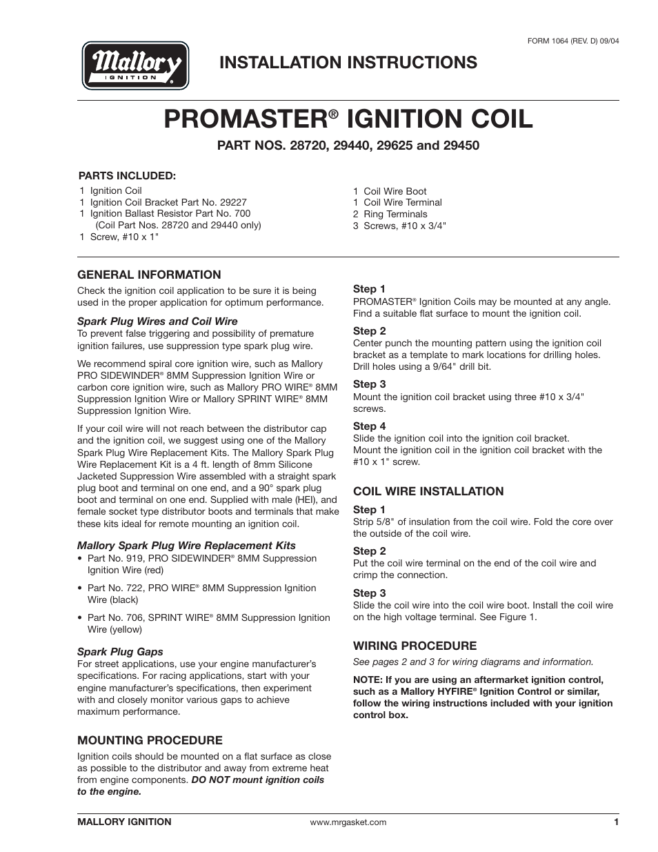 mallory ignition wiring diagram sony xplod cdx gt330 promaster coil 29440_29450_29625_29450 user manual | 12 pages