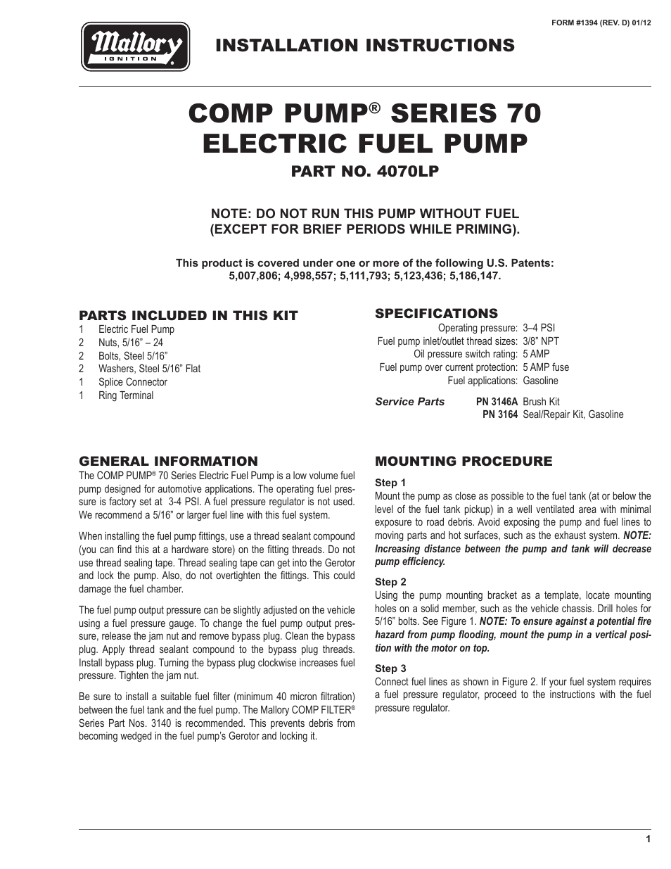 medium resolution of mallory ignition mallory comp pump series 70 electric fuel pump 4070lp user manual 4 pages