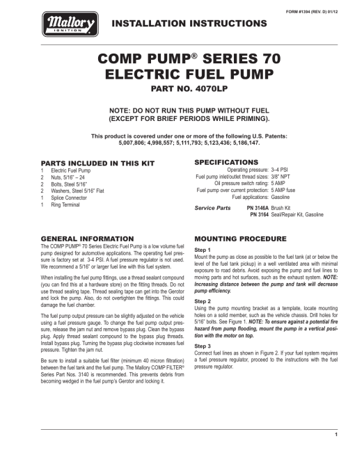 small resolution of mallory ignition mallory comp pump series 70 electric fuel pump 4070lp user manual 4 pages