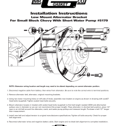mr gasket 5179 low mount alternator brckt for sbc w swp user manual 1 page [ 954 x 1235 Pixel ]