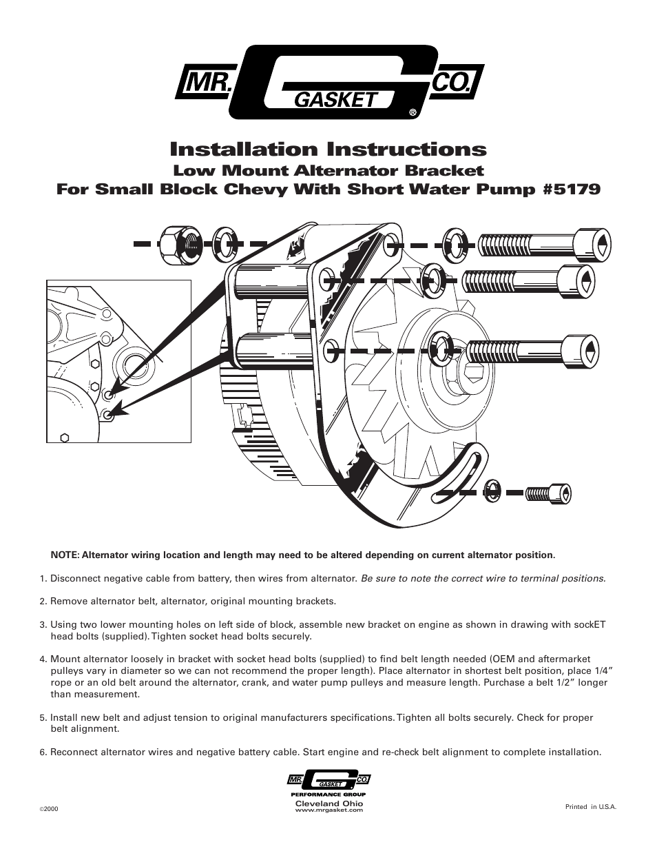 medium resolution of mr gasket 5179 low mount alternator brckt for sbc w swp user manual 1 page