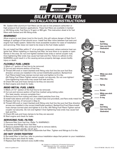 small resolution of mr gasket 6160g fuel filter billet user manual 1 page also for 6161g fuel filter billet 6162g fuel filter billet 6163g fuel filter billet