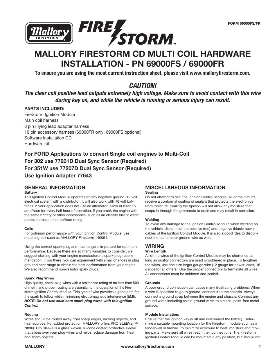 hight resolution of mallory ignition mallory firestorm cd multi coil hardware 69000fs mallory firestorm wiring diagram