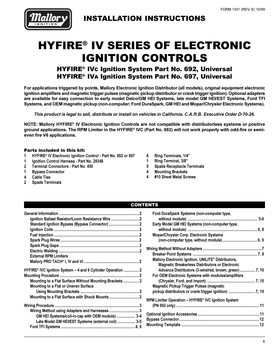 hight resolution of mallory ignition mallory hyfire iv series ignition system 692 697 rh manualsdir com mallory hyfire wiring